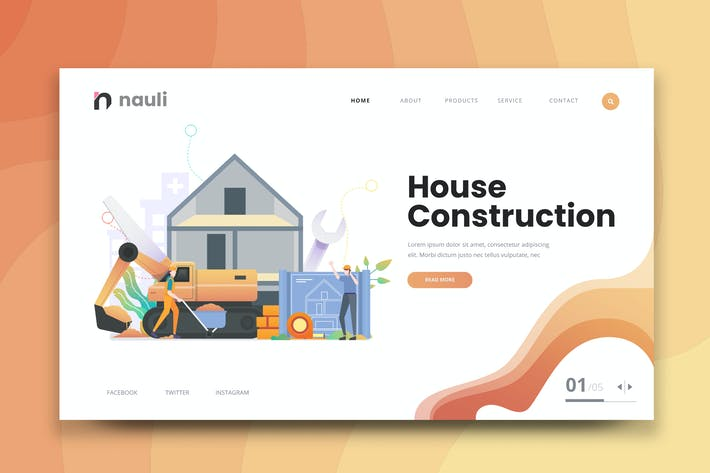 Thumbnail for House Construction Web PSD and AI Vector Template