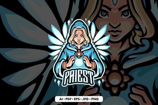Priest Mascot Logo