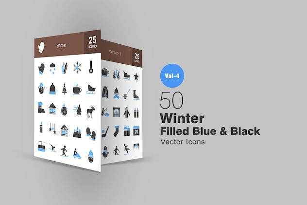 50 Winter Blue & Black Icons
