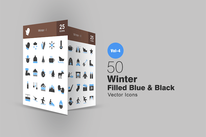Thumbnail for 50 Winter Blue & Black Icons