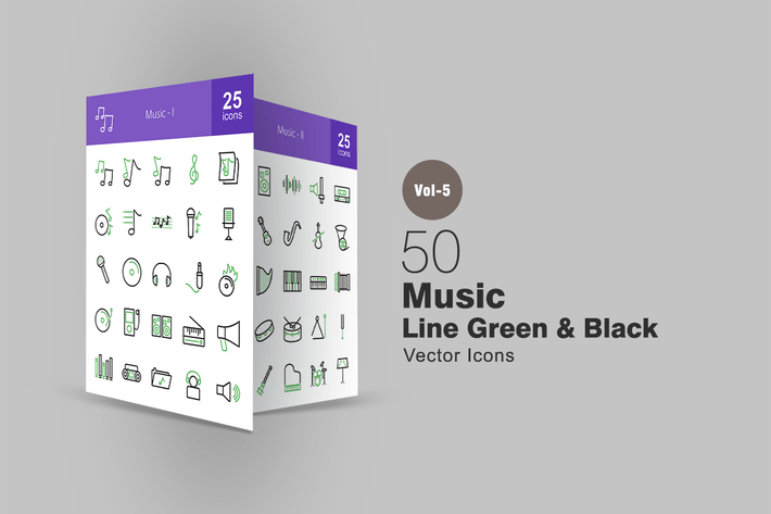 Thumbnail for 50 Music Line Green & Black Icons