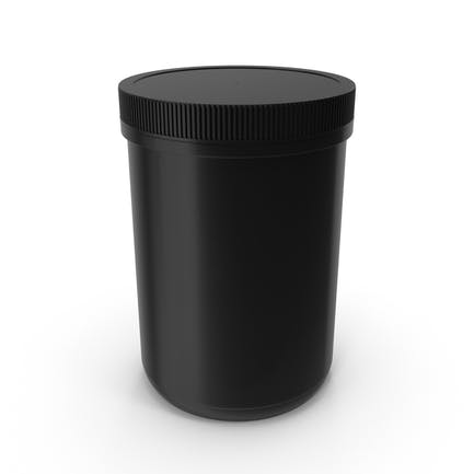Plastic Jar Wide Mouth Straight Sided 70oz Closed Black