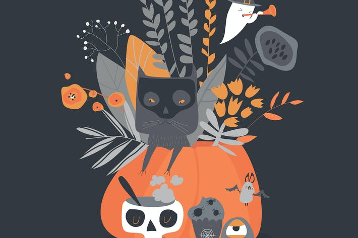 Thumbnail for Vector Halloween illustration with pumpkin and cat