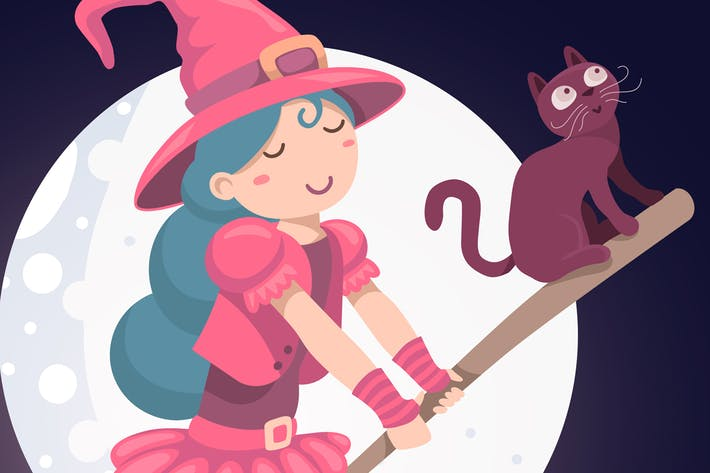 Thumbnail for Halloween cute witch with cat