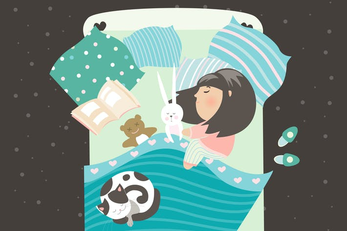 Thumbnail for Little girl sleeping with cat. Vector