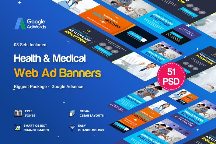Thumbnail for Health & Medical Banners Ad - 51 PSD