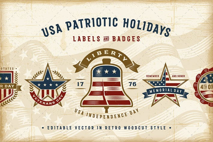 Thumbnail for Vintage USA Patriotic Holidays Labels Set