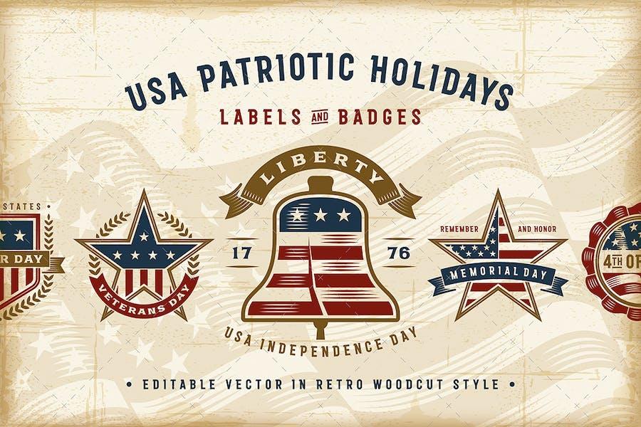 Vintage USA Patriotic Holidays Labels Set
