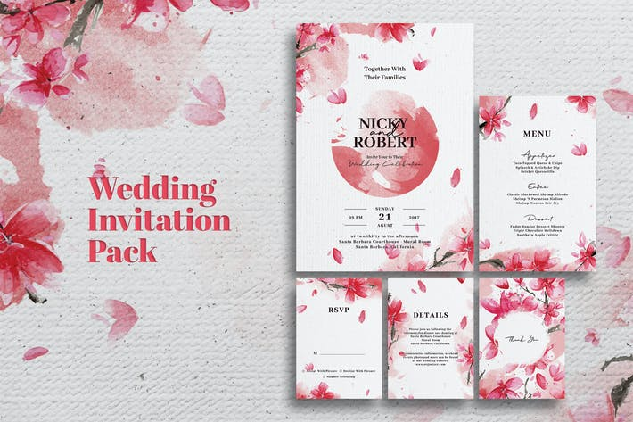 Thumbnail for Watercolor Wedding Invitation Set