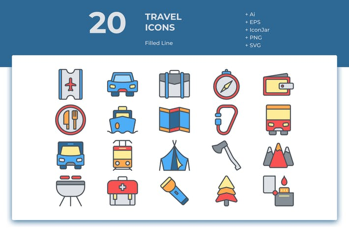 Thumbnail for 20 Travel Icons (Filled Line)