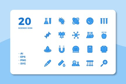 20 Science Icons (Lineal Color)