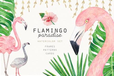 FLAMINGO PARADISE Aquarell-Set