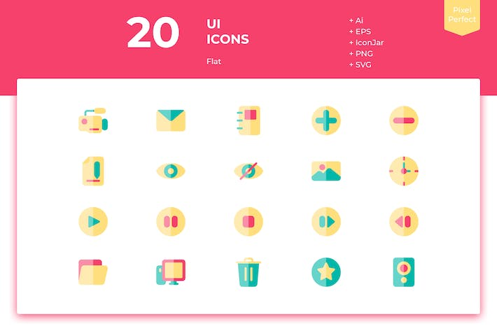 Thumbnail for 20 UI Icons (Flat)