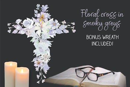 Floral Cross in Smoky Grey Tones