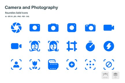 Camera and Photography Roundies Solid Glyph Icons