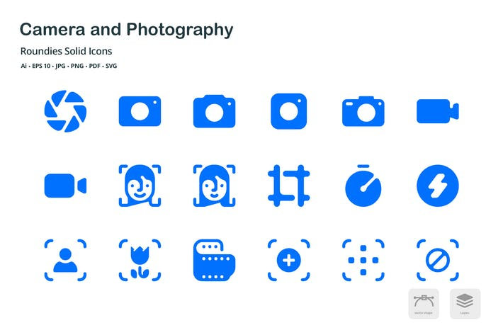 Cover Image For Camera and Photography Roundies Solid Glyph Icons