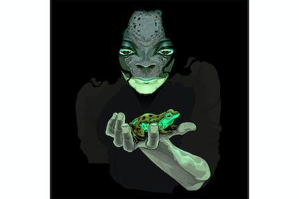 Metamorphose Monster Kerl mit einem Frosch