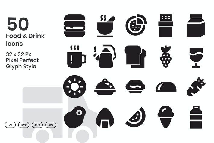 Thumbnail for 50 Food & Drink Icons - Glyph