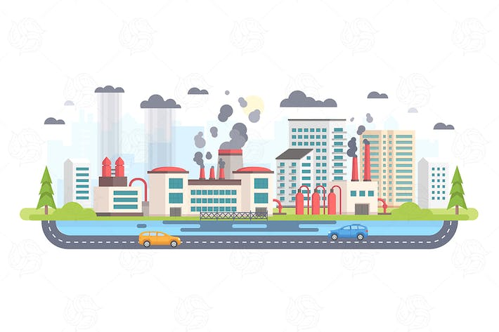 Thumbnail for Urban landscape with factory - vector illustration