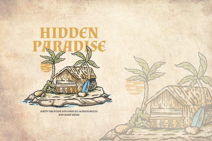 Hidden Paradise Summer Vintage Ilustración