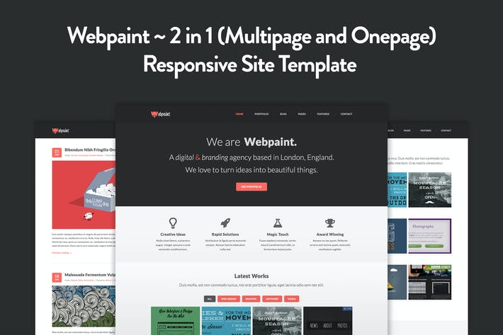 Thumbnail for Webpaint - 2 in 1 Responsive HTML5 Template