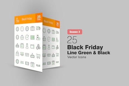 25 Черная пятница линия Зеленый & Черные Иконки