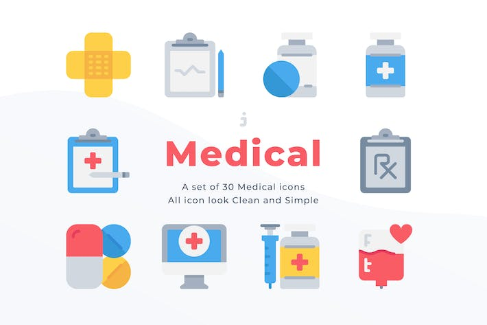 30 Medical and Healthcare Icons - Flat