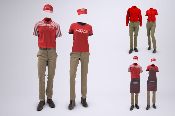 Thumbnail for Food Service and Retail Uniforms Mock-Up