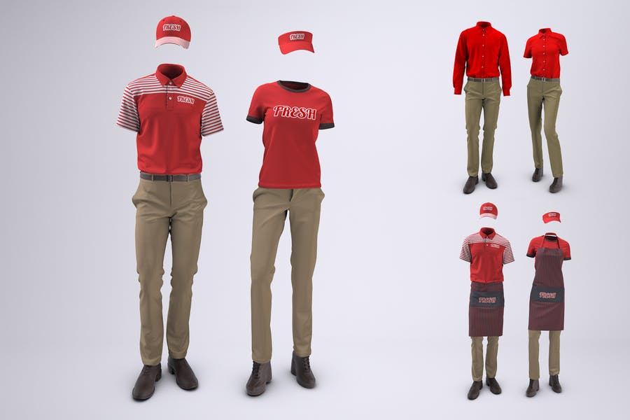 Food Service and Retail Uniforms Mock-Up