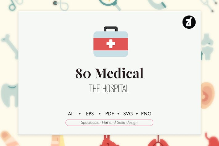 Thumbnail for 80 Medical elements in flat and solid design