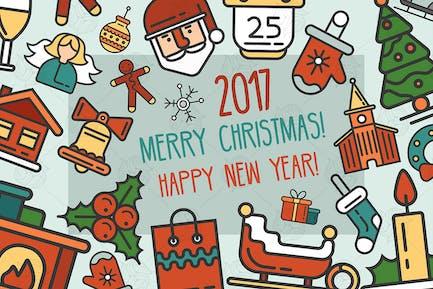 Frohe Weihnachten & Frohes Neues Jahr Postkarte