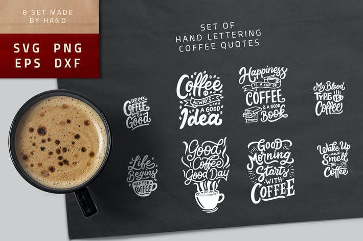 Thumbnail for Typography Hand Lettering Coffee Quotes SVG Bundle