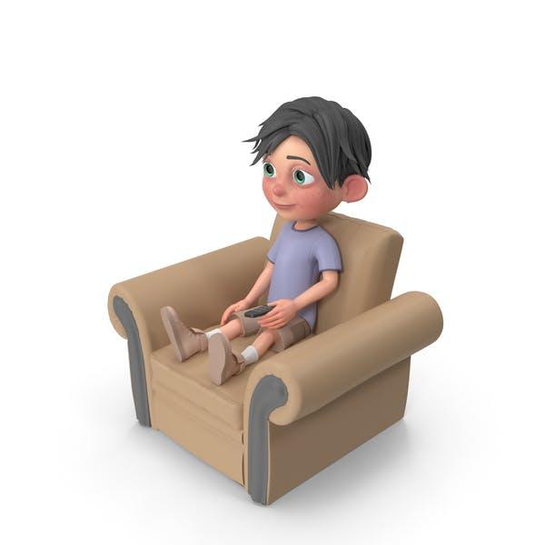 Thumbnail for Cartoon Boy Jack Sitting On Armchair