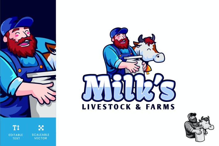 Thumbnail for Milks Livestock And Farms Logo Illustration Vector