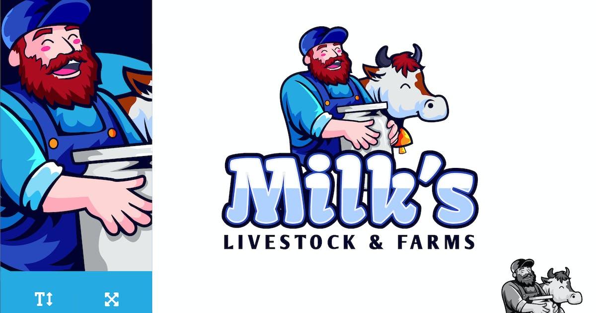 Download Milks Livestock And Farms Logo Illustration Vector by naulicrea