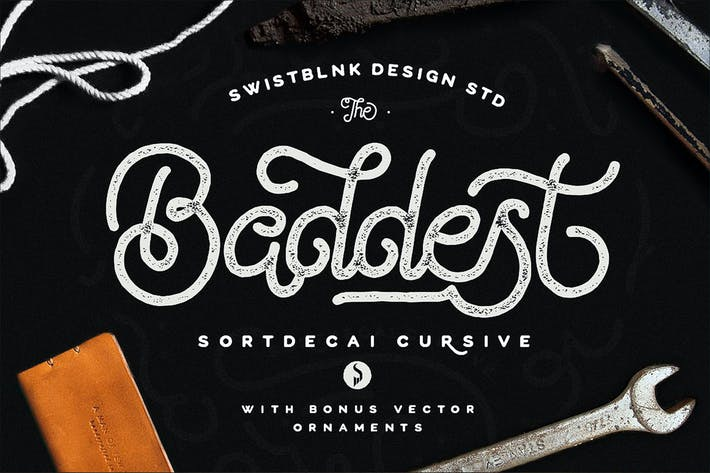 Thumbnail for Sortdecai Cursive Script With Bonus Ornaments