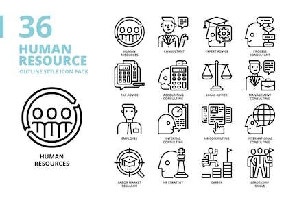 Conjunto de iconos de estilo de esquema de recursos humanos