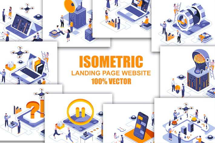 Thumbnail for Collection Flat Isometric Banner Flat Concept