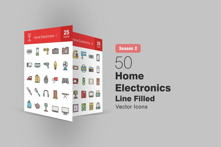 Thumbnail for 50 Home Electronics Filled Line Icons Season II