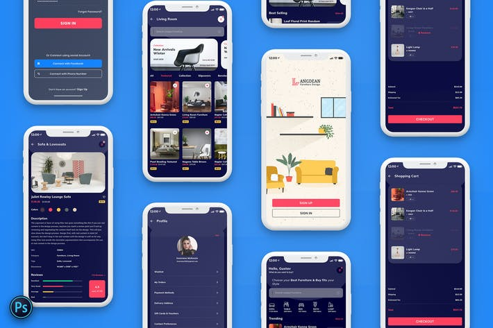 Thumbnail for Furniture Mobile App UI Kit Dark Version