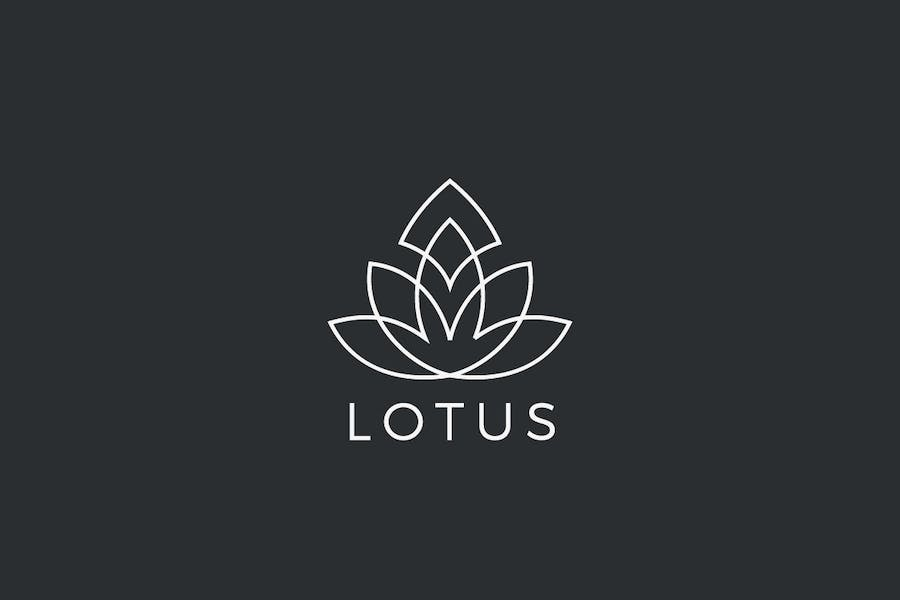 Logo Lotus Flower plant abstract Luxury Linear