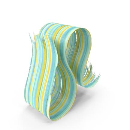 Blue Green 3D Paintbrush Stroke