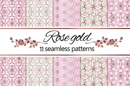 Rose Gold Geometric Floral Patterns