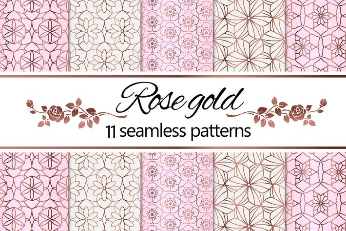 Thumbnail for Rose Gold Geometric Floral Patterns