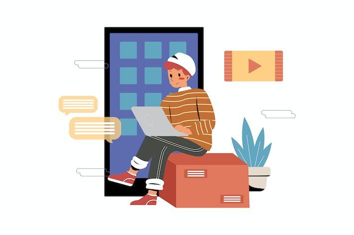 Mann programmiert auf seinem Laptop