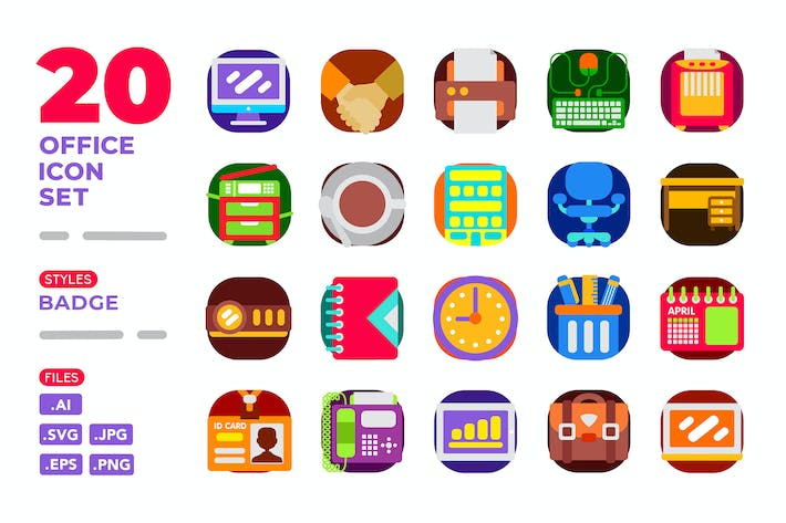 Thumbnail for Office Icon Set (Badge)