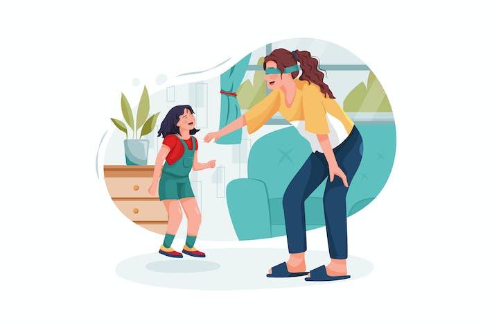Thumbnail for Няня играет забавную игру с ребенком дома