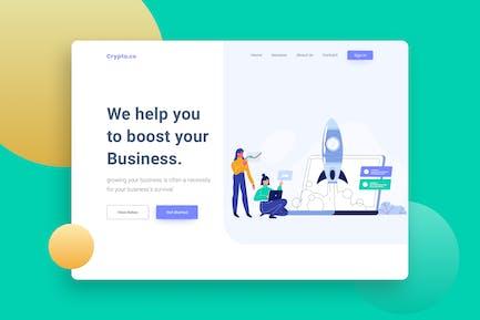 Start up Website Header  Illustration