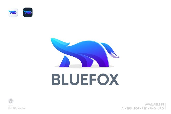 Thumbnail for blue fox logo template
