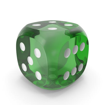 Dice Transparent Green White Up